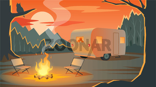 Camping landscape with camper, silhouettes loving couple in the trailer, mountains, forest and bonfire in evening, sunset, outdoor recreation, travelling, vector illustration.