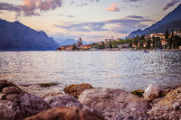 Landscape in Italy: Sunset at lago di garda, Malcesine: Lake, Clouds and village