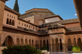 Courtyard of the Myrtles (Patio de los Arrayanes) in La Alhambra, Granada, Spain