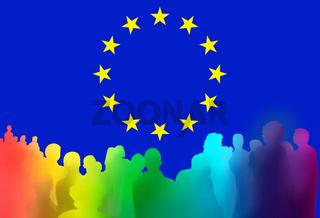 europa menschen silhouetten zeichen bunt