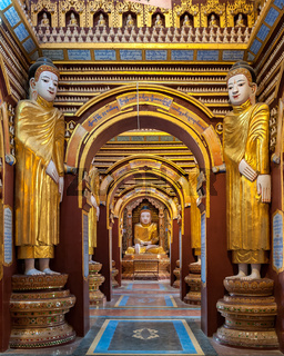 Interior of Thanboddhay pagoda, unique temple housing over 500000 images of the Buddha, Monywa, Myanmar