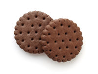 Top view of chocolate sandwich biscuits