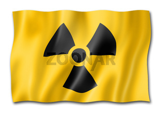 radioactive nuclear symbol flag isolated on white