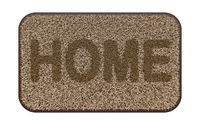 Brown coir doormat with text HOME 3D