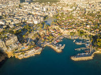 Drone View Kaleici Harbor Cityscape Antalya Turkey