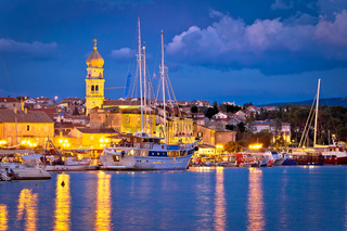 Island town of Krk evening waterfront view