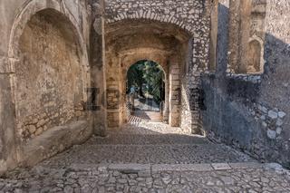 Side entrance of an medieval castle.