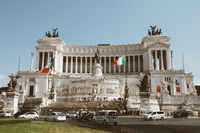 Panoramic front view of museum the Vittorio Emanuele II Monument