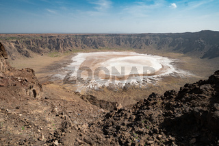 View on the small salt lake in the crater of Al-Wahbah in Makkah Province, Saudi Arabia