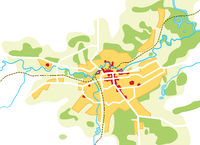 Map of The City. Geographical Location, Navigation Tourist Guide, Route Urban Chart.