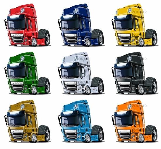 Cartoon semi trucks set isolated on white