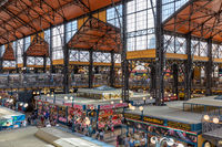 Shoppinng people Great Market Hall in Budapest, Hungary,
