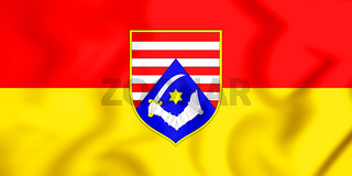 3D Flag of Karlovac County, Croatia. 3D Illustration.