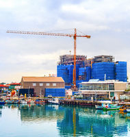 Construction site, boats, waterfront, Cyprus