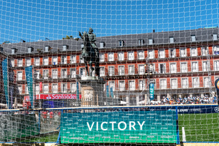 Victory banner in football field in Plaza Mayor during UEFA Champions League Final in Madrid