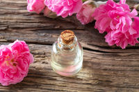 A bottle of essential oil with rose flowers