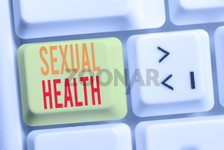 Handwriting text writing Sexual Health. Concept meaning positive and respectful approach to sexual relationships White pc keyboard with empty note paper above white background key copy space.