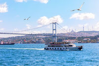 The Bosphorus strait of Istanbul, view of the Bridge and the ships