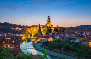 Night view of Cesky Krumlov old town in Czech Republic
