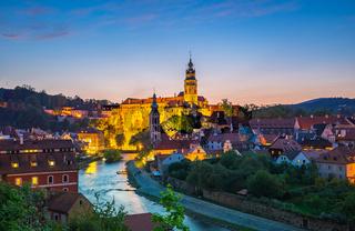 Night view of Cesky Krumlov old town in Czech Republic