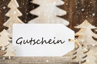 Christmas Tree, Label, Gutschein Means Voucher, Snowflakes