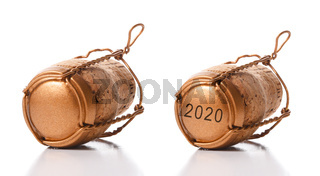 Closeup of two champagne corks with their cage on white with reflection
