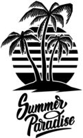Summer emblem with palms. Design element for logo