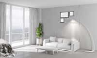 Modern bright interior with sofa and lamp