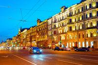Night cityscape Nevsky, Petersburg, Russia