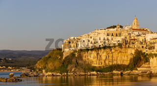 Sunrise view of Vieste and cathedral in Apulian Romanesque style, Italy