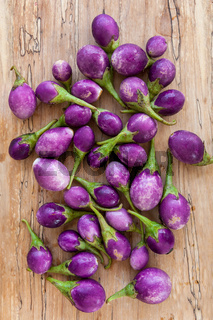 Group of baby violet eggplants.