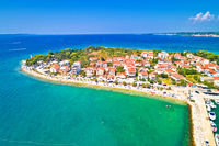 Puntamika peninsula in Zadar waterfront aerial summer view