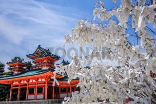 Omikuji tree at Heian Jingu Shrine temple, Kyoto, Japan