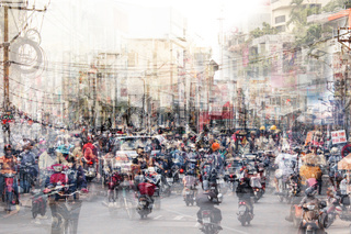 abstract city life and traffic concept - crowded streets double exposure  -