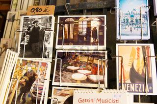 postcards in the bookstore on the water Alta Acqua Libreria in Venice, Italy