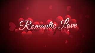Closeup Romantic Love text and romantic heart on Valentines day shiny background