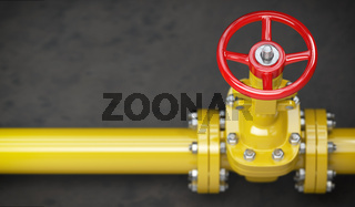 Gas pipeline valve on a wall. Space for text. Gas pressure control.