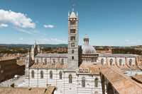 Panoramic view of exterior of Siena Cathedral (Duomo di Siena)