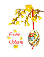 Ostern, Frohe Ostern!, Osterkarte, Osterei, Forsythie, Schrift, Text, Textraum, copy space,