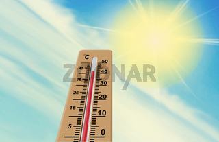 Sun and thermometer. The air temperature is more than 40 degrees Celsius.