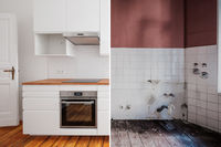 built-in kitchen  before and after  restoration  -  renovation concept