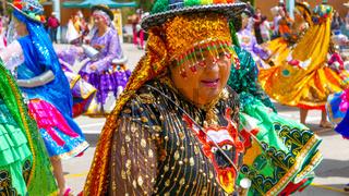 La Paz Bolivia woman dancing in traditional clothes