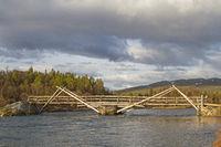 Holzbrücke über den Fluß Sjoa