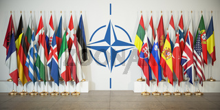 NATO. Flags of memebers of North Atlantic Treaty Organization and symbol.