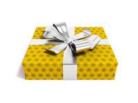 Gift in yellow paper with bow 3d rendering on white background with shadow