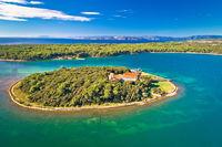Kosljun. Adriatic monastery island of Kosljun in Punat bay aerial view
