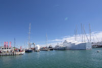 Old Palma harbor Moll Vell moored yachts vessels