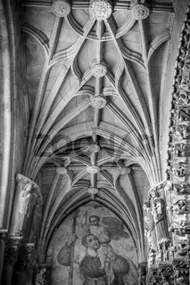 God, Medieval Gothic architecture inside a cathedral in Spain. Stones and beautiful ashlars forming a dome