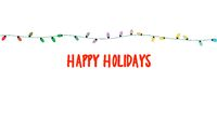 Happy Holidays text, colorful garland on white background