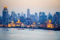 shanghai bund in nightfall